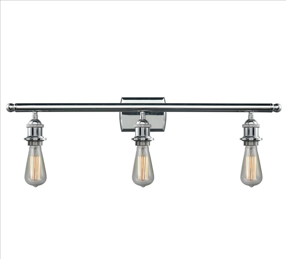 Bare bulb 3 light bathroom fixture